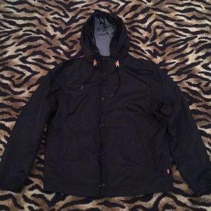 Levi's Strauss Black Rain Coat Zip Size Medium